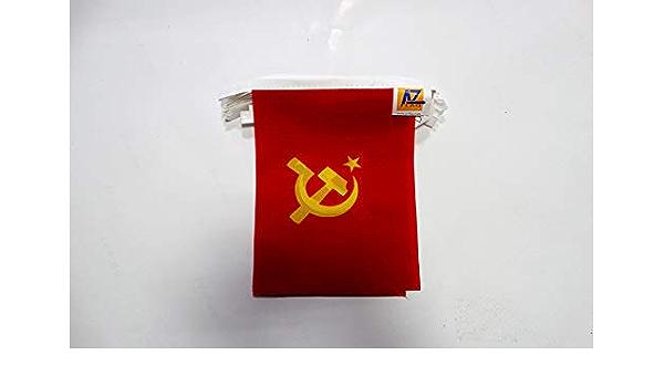 AZ FLAG Guirnalda 6 Metros 20 Banderas de la URSS con Logo Grande 21x15cm - Bandera ROJA - Comunista 15 x 21 cm - BANDERINES: Amazon.es: Jardín