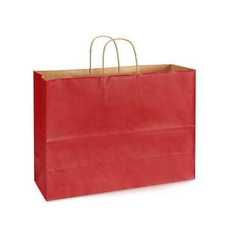 USA-Made Extra Large Kraft Shopping Bags (Vogue Size 16 W x 12 H x 6 gusset) Set of 25, Available in 14 Colors (Red)