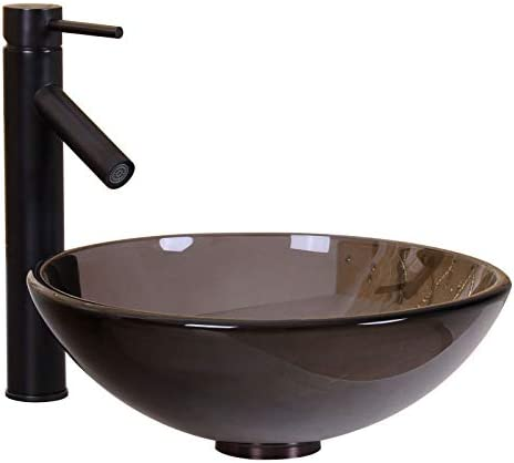 ELITE Bathroom 14 Clear Brown Glass Vessel Sink Oil Rubbed Bronze Single Lever Faucet Combo