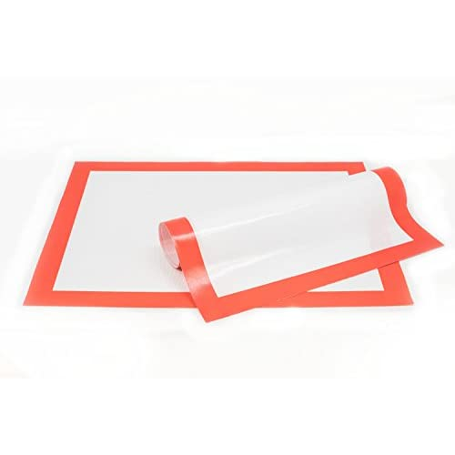 Premium 2 Pack Red Silicone Baking Mats, Half Sheets, Non-Stick Professional Grade, FDA Approved, Easy to Clean and Reusable, Heat Resistant Liners for Cookie Sheets, Pastry, Bread Making, & more