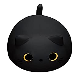 Black Cat Plush Pillow | Mogu Mike Big Eyes Plushie 10