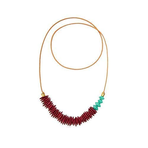- Ruth Leather Necklace with Grenadine Greek Ceramic Beading | from Son of a Sailor