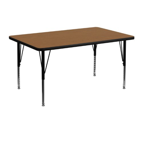 Flash Furniture 30''W x 48''L Rectangular Oak Thermal Laminate Activity Table - Height Adjustable Short Legs -