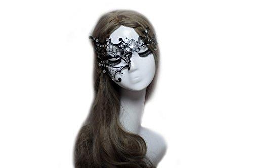 Half Style Gold Black With Mask (Venusvi Masquerade Mask Halloween Venetian Style Eye Mask Elegant Luxury Eye mask for Sexy Lady)