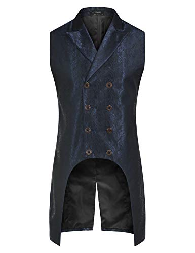 COOFANDY-Mens-Gothic-Steampunk-Vest-Slim-Fit-Sleeveless-Tailcoat-Jacquard-Brocade-Double-Breasted-Waistcoat-Blue