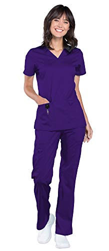 Cherokee Workwear Revolution Women's Medical Uniforms Scrub Set Bundle - WW620 V-Neck Top & WW120 Drawstring Pant & Marc Stevens Badge Reel (Grape - X-Small/X-Small)