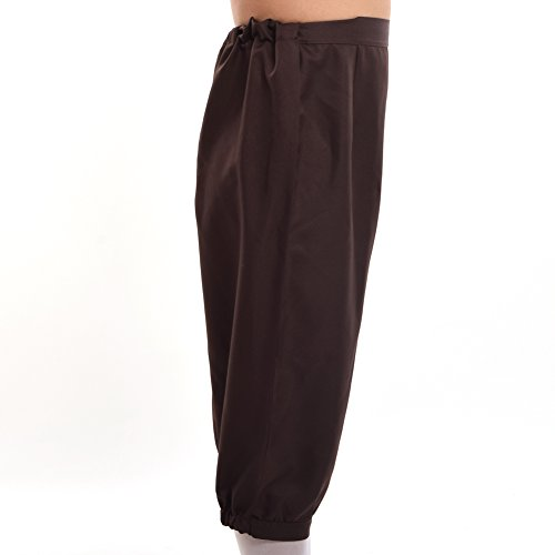 BLESSUME Retro Colonial Pants Renaissance Mens Knicker Pants Breeches  (Brown, S)