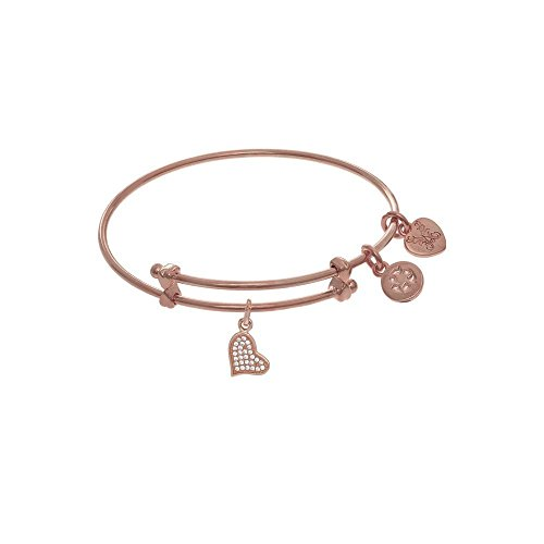 sh Expandable Tween Brass Bangle Bracelet Cubic Zirconia Heart Pink Angelica Bangle ()