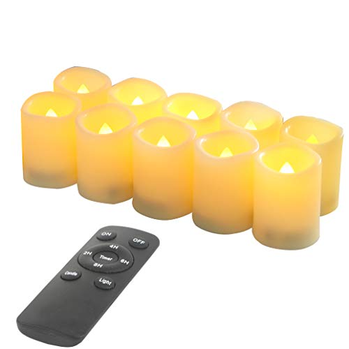 10 Pack Battery Operated Electric Flameless LED Votive Candles with Remote and Timer Realistic Flickering Set Bulk for Black Friday Christmas New Year Wedding Party Decorations Batteries Included