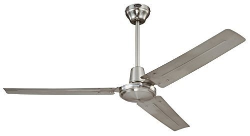 Ciata Lighting 7861400 Industrial 56-Inch Three-Blade Ceiling Fan with Ball Hanger Installation System, Brushed Nickel - 2 Pack