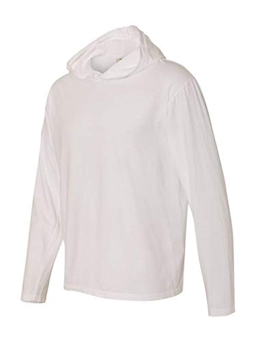 BC ADULT LS HOODED TEE, WHITE, 2XL