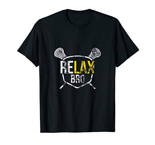 Funny ReLAX Bro Lacrosse Saying Vintage Distressed T-Shirt