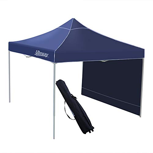 - UBOWAY 10x10 Ft Pop Up Canopy - Outdoor Instant Canopy Tent, Waterproof Air Circulation Shelter with Side Wall, Wheeled Backpack Bag for Beach, Backyard, Tailgate, Party (Navy)