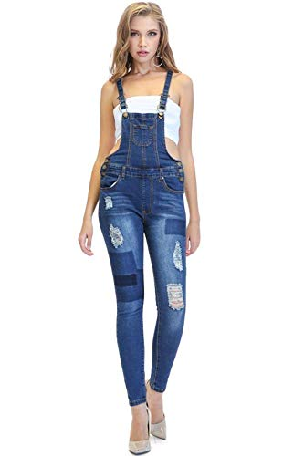 (G-Style USA American Bazi Women's Patched & Distressed Denim Skinny Overalls RJHO639 - Blue - Small - KK1C)