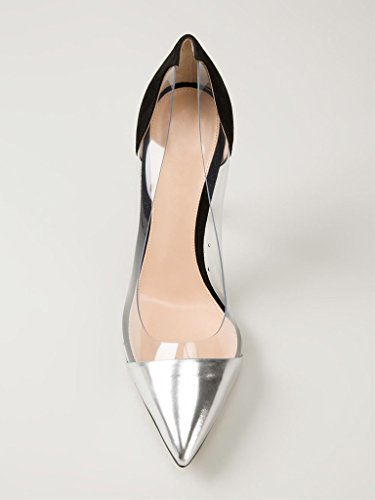 fermé Noir Bout A Aiguille Argent Talon Taille Transparent Femmes Enfiler Escarpins PVC Chaussures EDEFS gqwAvv