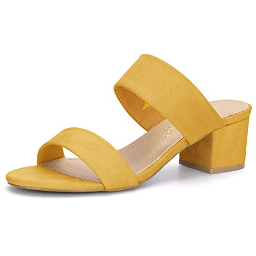 Allegra K Women's Block Heel Dual Straps Slide Yellow Sandals - 7.5 M US (Abs Womens Sandals)