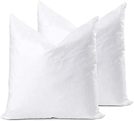 Amazon Com Ysther Down Feather Throw Pillow Inserts 20x20 Set Of 2 Square Form Sham Stuffer Premium Hypoallergenic Cotton Lumbar White Decorative Sofa Cushion Couch Home Kitchen