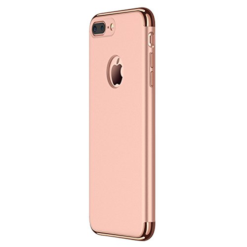 Hovisi 3 in 1 Anti-Scratch Anti-Fingerprint Shockproof Electroplate Frame with Non Slip Coated Case for iPhone7 Plus (Rose Gold)