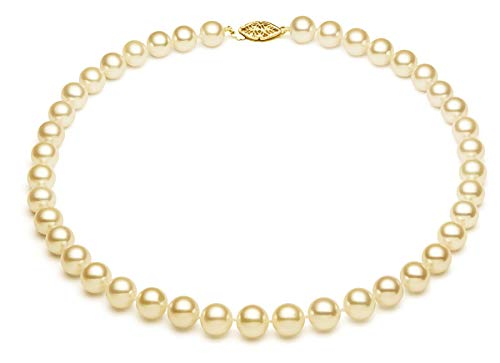 - 6-6.5mm 14k Yellow Gold AA+ Quality Cream Akoya Saltwater Cultured Pearl Necklace, 16