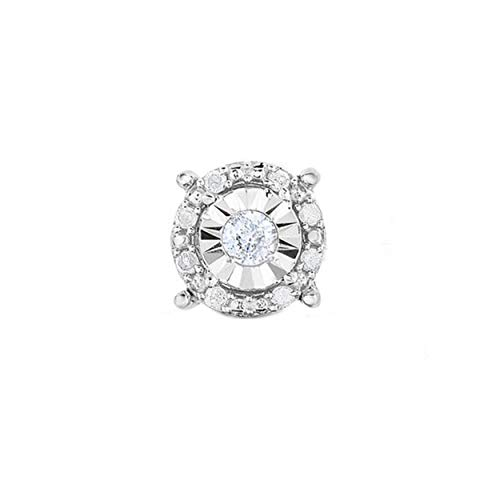 Sterling Silver Best Selling Halo Diamond SINGLE Stud Earring 1/8ctw Princess, Round or Heart (White Round SINGLE) (Single Diamond Stud Earring)