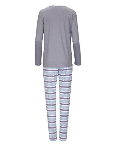 RÖSCH Femmes Pyjama 1163702 100 % coton Wellness loungewear gris 38