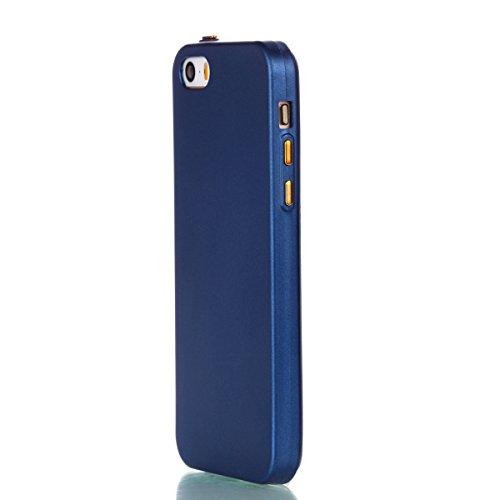 YHUISEN Caso de IPhone 5S / SE / 5, sólido del color sólido delgado apto Soft TPU gel duradero choque de absorción de la caja protectora para IPhone 5S / SE / 5 ( Color : Gold ) Blue