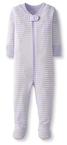Moon and Back by Hanna Andersson Baby/ Toddler One-Piece Organic Cotton Footed Pajama, Purple, 3T (Cotton Pajamas Purple)