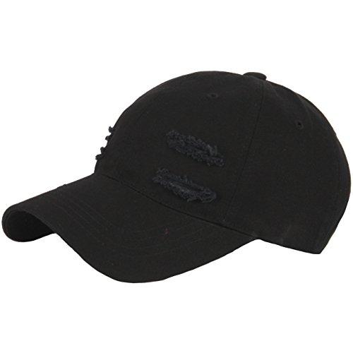 RaOn B171 New Back Side Silver Ring Piercing Punk Rock Ball Cap Baseball Hat Truckers (Black)