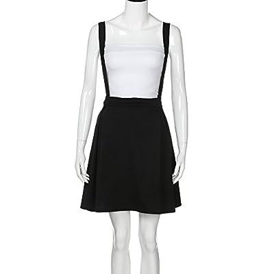LISTHA Plus Size Strap Mini Pleated Skirt for Women Solid Black Short Skirts Uniform