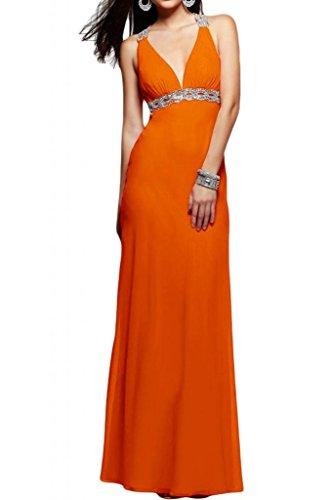 Elegante V-cuello de la Toscana de novia de gasa Rueckenfrei por la noche de fiesta bola a largo Prom vestidos naranja