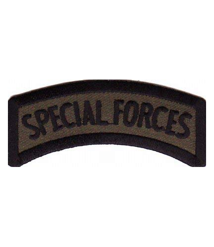 Black & Army Green Special Forces Rocker Tab Patch, Military Patches