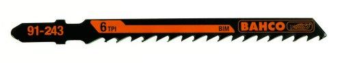 Bahco 91-443-5P T-Shank Jig Saw Blade 6 Teeth Per Inch, Side