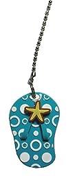 beach tropical starfish polka dot FLIP FLOP sandal Ceilling FAN PULL light chain extender (Turquoise Blue)