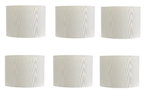 (Upgradelights 5 Inch Retro Barrel Drum Clip on Chandelier Lampshade (Set of 6) (White))