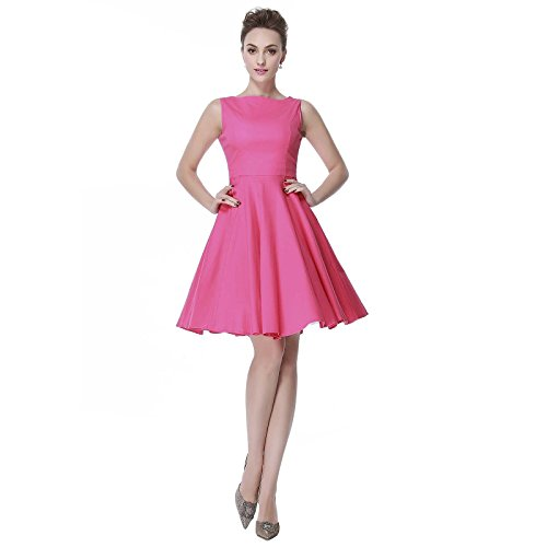 [Heroecol Womens Vintage 1950s Dresses Oblong Neck Sleeveless 50s 60s Style Retro Swing Cotton Dress Size L Color] (Cocktail Dress Halloween Costumes)