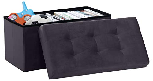 Ornavo Home Foldable Tufted Velvet Large Storage Ottoman Bench Foot Rest Stool/Seat - 15