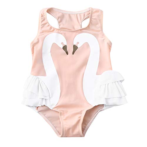 Sarahwu Lovely Cute Fashion Toddler Baby Kids Girl Ruffles Swan Swimwear Swimsuit Beach Romper Clothes Pink