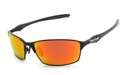 NEW Peppers Seatbelt Black Red Aviator Wrap Polarized Mens Sunglasses Msrp$35 Peppers Wrap Around Sunglasses