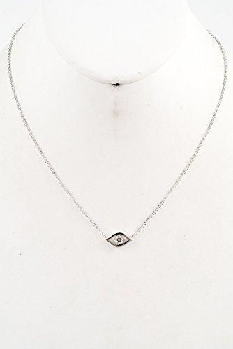 GlitZ Finery Evil Eye with Crystal Pendant Necklace (Rhodium)