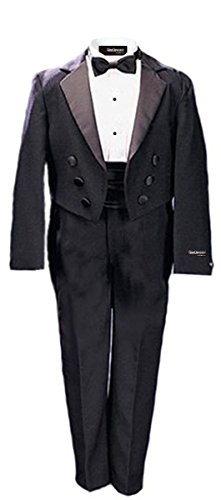 Gino Giovanni New Ring Bearer Boys Tuxedo Tail Suit Tux Set Black From Baby to Teen