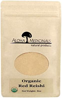 Aloha Medicinals - Pure Red Reishi - Certified Organic Mushrooms – Ganoderma Lucidum – Health Supplement – Supports Cardiovascular, Immune System and Liver Function - 4oz Bag (Powder)