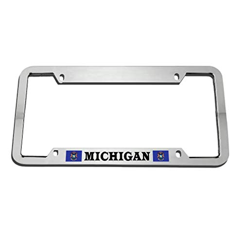 (Michigan Unique License Plate Frame Tag, Auto Car Tag Frame, License Plate Holder for US Standard, 4 Holes and Screws)