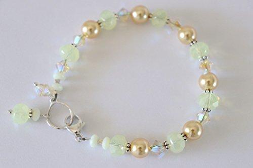 Handmade Swarovski Crystal Beaded Bracelet (Yellow Bracelet Swarovski Crystal Pearl Sterling Silver Handmade Gold)