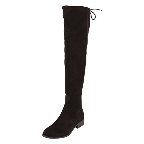 Fioni Women's Black Suede Women's Watson Over-The-Knee Stretch Boot 8.5 Wide (Suede Over The Knee Boots)