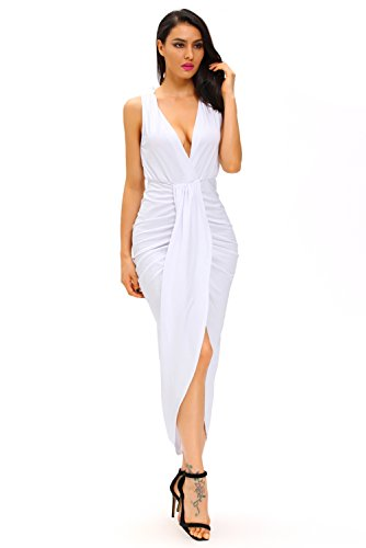 Lucklovell Women Sexy White Draped Slit Front Maxi Dress ...