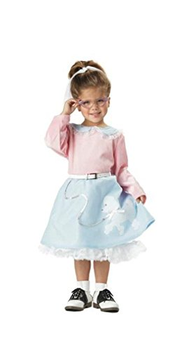 [Fancy Grease 50's Poodle Cutie Toddler Costume - Pink & Blue] (Cutie Cheetah Child Costumes)