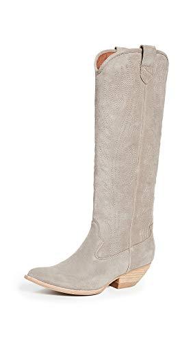 Jeffrey Campbell Women's Calvera Tall Western Boots, Dark Taupe, Grey, 10 M - Goat Western Boots