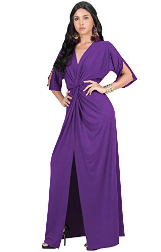 KOH KOH Plus Size Womens Long Sexy V-Neck Short Sleeve Cocktail Evening Bridesmaid Wedding Party Slimming Casual Summer Maxi Dress Dresses Gown Gowns, Lavender Purple 3XL 22-24 ()