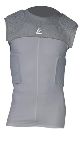 McDavid Hexpad Hexmesh Sleeveless 5 Pad Compression Body Shirt, Grey, X-Large