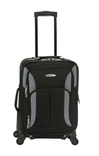 Wheel Luggage 4 Expandable (Rockland Luggage 19 Inch Expandable Spinner Carry On, Black/Gray, One Size)